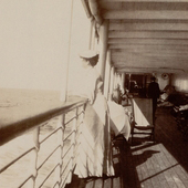 Photograph of a woman passenger gazing out to sea on a Caribbean voyage, 1905 (Crown Copyright, National Records of Scotland, GD1/585/21)