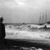 Photograph of a ship being tossed around on a stormy sea, 1908 (Crown Copyright, National Records of SCotland, GD1/585/23)