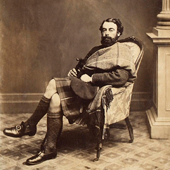 Photograph of a Victorian carte de visite, portrait photograph of seated gentleman in highland dress, not dated (Crown Copyright, National Records of Scotland,GD268/1045/0)