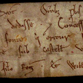 Image of a charter by David I to Church of St Cuthbert, 1127 (Crown Copyright, National Records of Scotland, GD45/13/216)