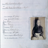 Image of a Greeenock Prison particulars of a female Prisoner and her photograph, 17 February 1872 (Crown Copyright, National Records of Scotland, HH12/56/7)