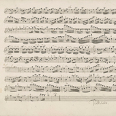 Image of the second page of flute part of concerto for flute, strings and continuo in D minor by Antonio Vivaldi, RV341a ('ll Gran Mongol'), 1730s (Crown Copyright, National Records of Scotland, GD40/15/54/15)
