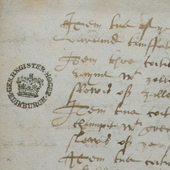 Image of an extract from the Receipted inventory of books, ornaments and masquing clothes delivered by Servais de Conde to the regent's servitors by his warrant, 24-25 November 1569 (Crown Copyright, National Records of Scotland, E35/10)