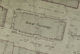 Detailed map of Royal Exchange Buildings, central Glasgow, (National Records of Scotland, IRS118/837).
