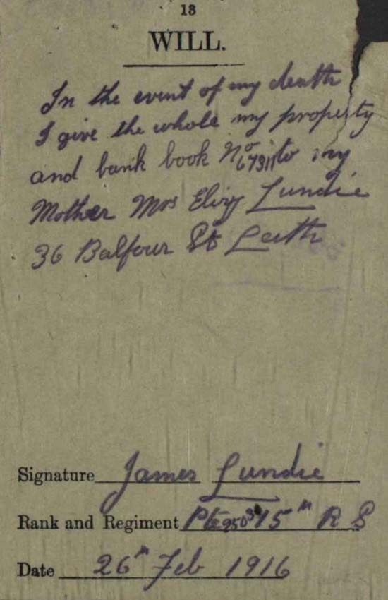James Lundie's will, NRS, SC70/8/592/6/3