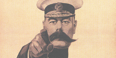 Detail of recruitment poster featuring Lord Kitchener by Alfred Leete, 1914.