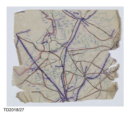 Hand-drawn map of the Dutch-German border for planned escape by Colin Campbell, 2nd Bn, Argyll & Southern Highlanders