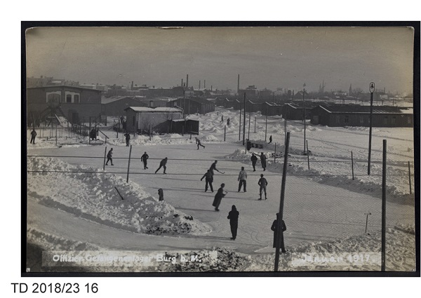 Allied officers playing ice hockey at Burg-bei-Magdeburg camp, 1917