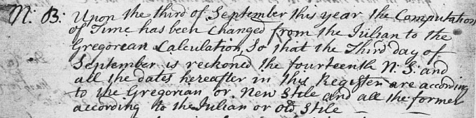 Detail from OPR about calendar change in September 1752