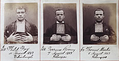 Detail from Barlinnie prison register showing photos of Philip Foy, Terrance Rooney and Thomas Martin, taken before they left the prison in August 1883, National Records of Scotland reference HH21/70/97 page 18