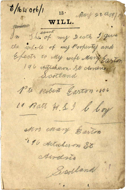 Will of Private Robert Easton, 23 May 1915 (NRS, SC70/8/169/1/3)