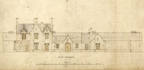 Elevation of Galashiels Station (North British Railway), 1 February 1847, National Records of Scotland, RHP15711 (detail).