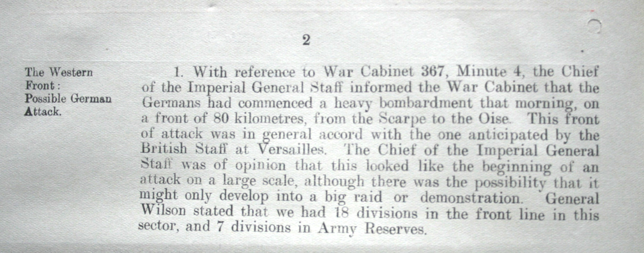 War Cabinet Meeting 369, p.2, 21 March 1918