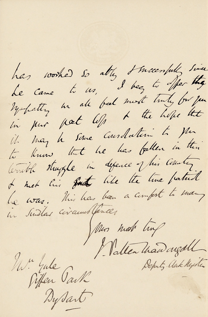 Letter from Sir James Patten MacDougall to Mrs Thomasina Yule, 16 May 1916, courtesy of Fiona Gregg-Smith