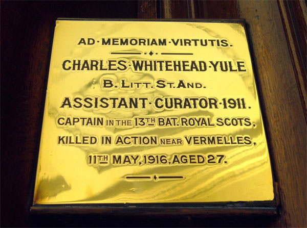 Brass plaque to the memory of Charles Whitehead Yule, General Register House