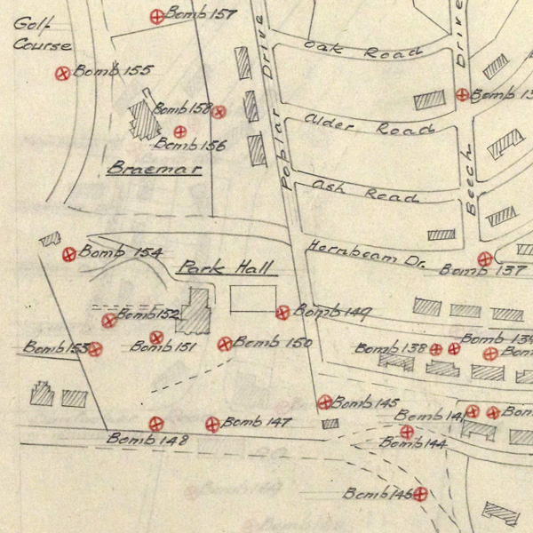 Map of bomb hits on Parkhall (National Records of Scotland, HH50/162/147)