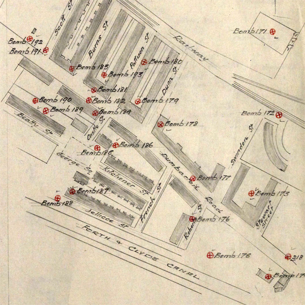 Map of bomb hits on Jellicoe Street etc (National Records of Scotland, HH50/162/149)