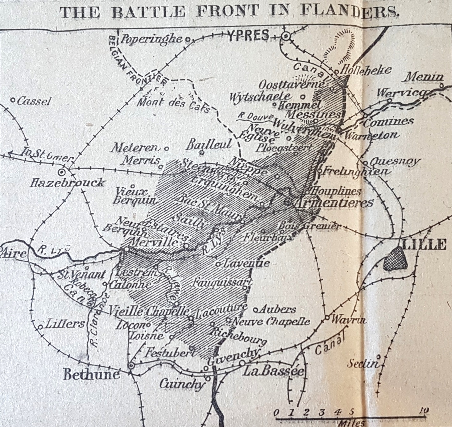 Map of 'The Battle Front in Flanders', April 1918