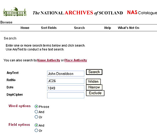 Image showing a search of the NRS catalogue for 'John Donaldson' in JC26 records in 1849