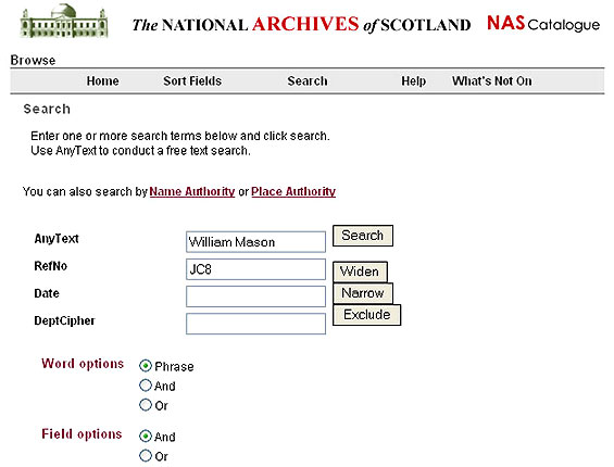 Image showing search page on NRS online catalogue