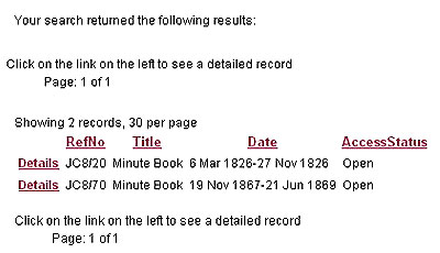 Image showing results of a catalogue search for a High Court minute book