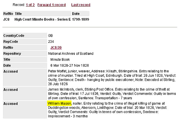 Image showing details of catalogue search for High Court record