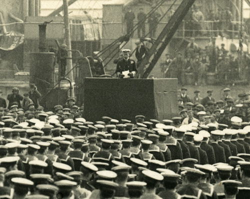King George V addressing the company of HMS 'Warspite', National Records of Scotland, MW12/29