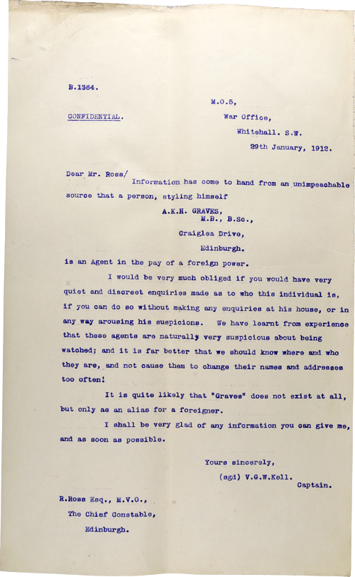 Copy letter from Captain Kell, 29 January 1912, National Records of Scotland, AD15/12/44A
