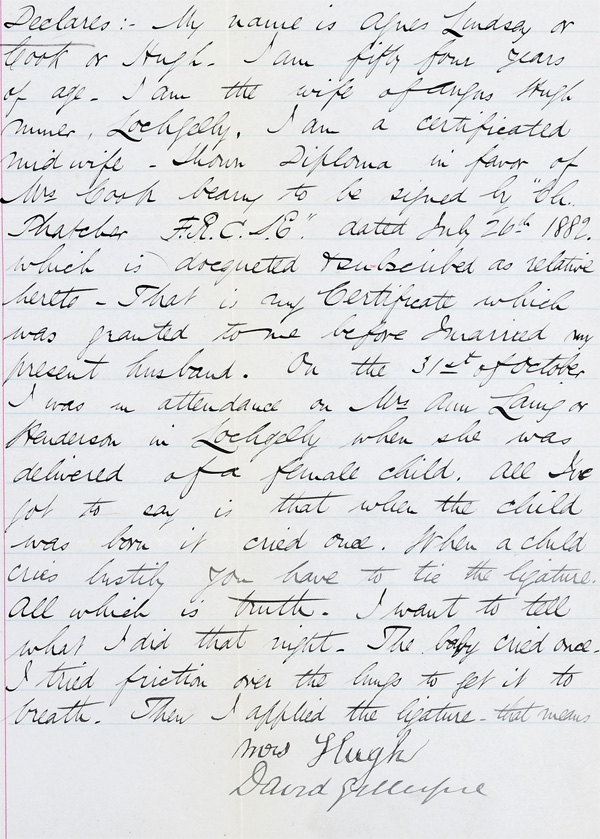 Agnes Hugh Trial papers, 1888 (National Records of Scotland, JC26/1888/1)
