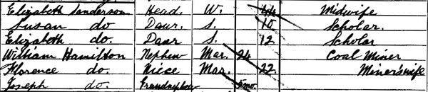 Elizabeth Sanderson in the 1901 census (National Records of Scotland)