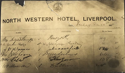 A photographic print of Oscar Slater's signature on the North Western Hotel's signing-in sheet (NRS, Crown Copyright, JC34/1/32/43)