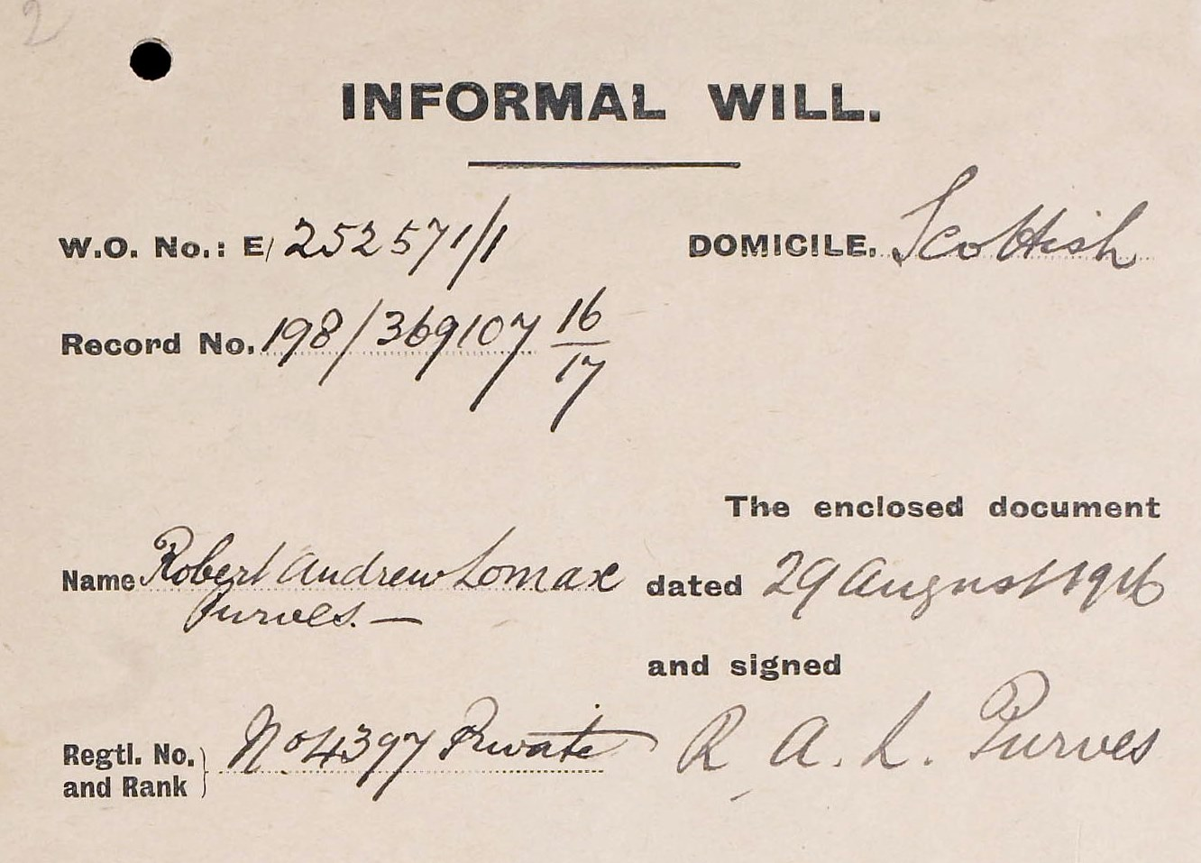 Detail of envelope of Purves's will, 1916