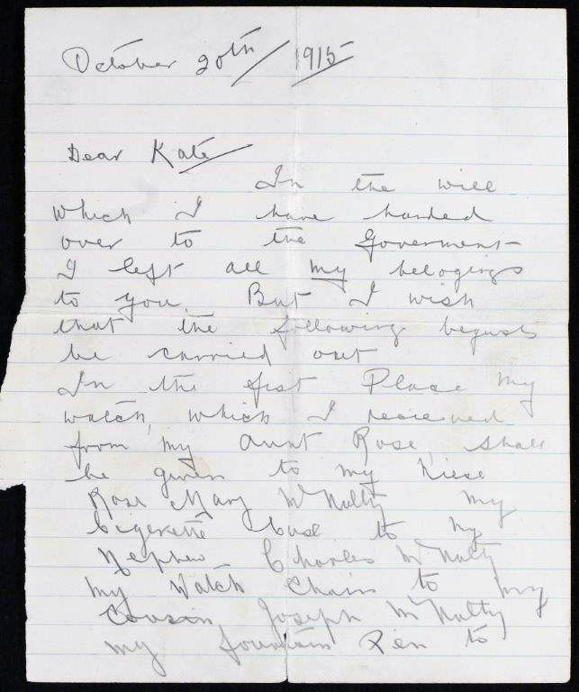 First page of letter from Andrew McNulty 1915