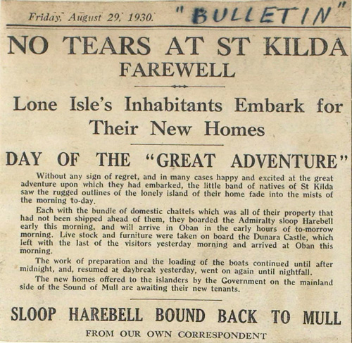 Newspaper article about evacuation of St Kilda, 1930 (National Records of Scotland, GRO5/325/1/11)
