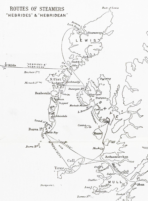 Chart showing steamer routes to St Kilda, c1929 (National Records of Scotland, HH65/22)