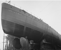 Detail from photograph of HMS Inflexible on the slipway at Clydebank shortly before her launch, 26 June 1907 (UCS1/118/374/12).