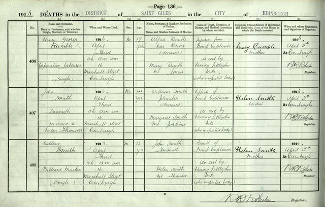 Extract from the Register of Deaths for three of those who died at 16 Marshall Street, 1916, National Records of Scotland, 685/4 p.136