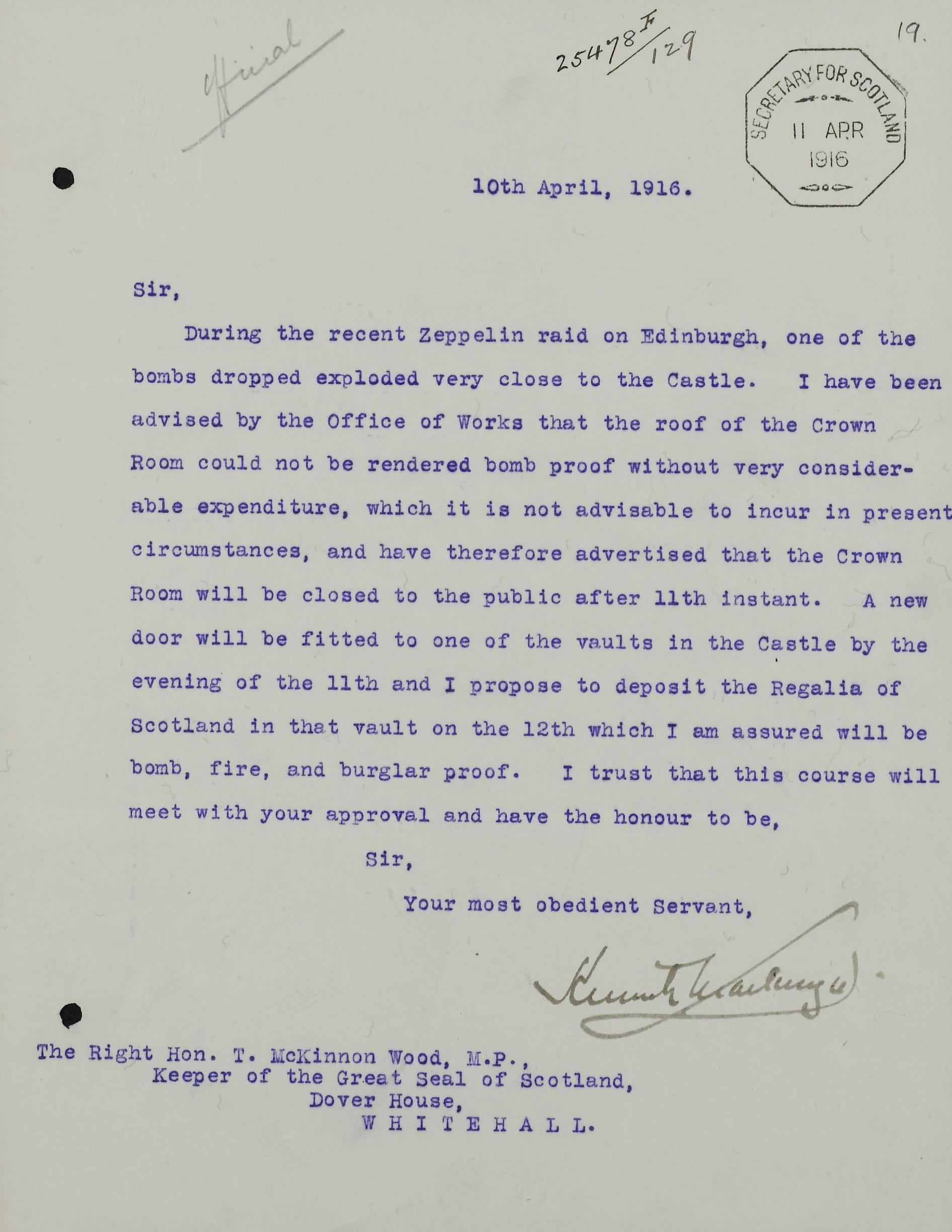 Letter to the Keeper of the Great Seal of Scotland regarding a place of safety in which to store the Scottish Regalia, 1916, National Records of Scotland, HH31/21/1 fol.19