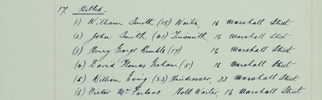 List of those killed at 16 Marshall Street and 33 Marshall Street, National Records of Scotland, HH31/21/8 fol.39