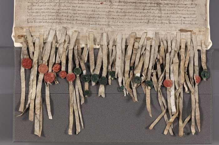 Image of detail of the Declaration of Arbroath showing seals
