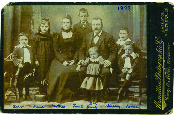 John Reid Cowie, his wife Elspet Williamson, and six of their seven children in 1898. Photograph, private collection.