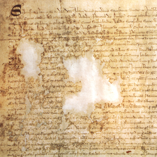 Image of detail of the Declaration of Arbroath showing damaged area