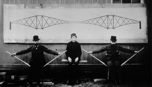 Image of Forth Rail Bridge cantilever demonstration, National Records of Scotland BR-FOR-4-34-161