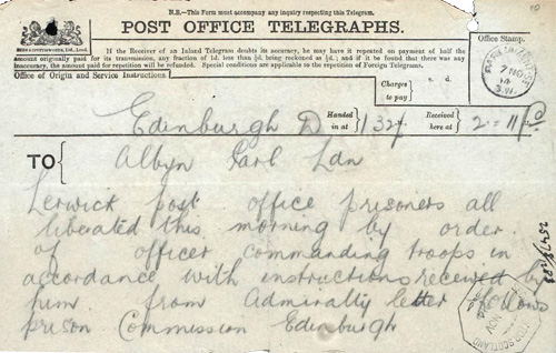 Telegram with orders for release of Lerwick prisoners, National Records of Scotland HH31/17/2/10