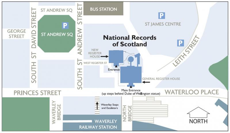 Map showing location of General Register House and New Register House in central Edinburgh