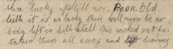 Detail of letter from Private James Tracey to his mother, 29 May 1915, National Records of Scotland SC70/8/136/15