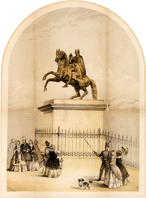 Engraving of Steell's statue Wellington, circa 1852, NRS reference RHP140625