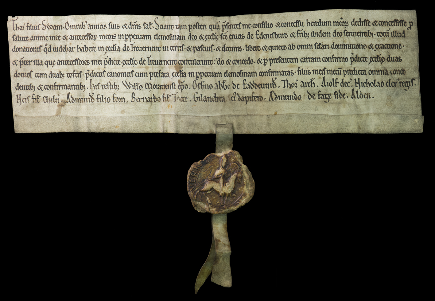 Charter of Thor, son of Swain for Holyrood Abbey, National Records of Scotland (GD45/13/223)