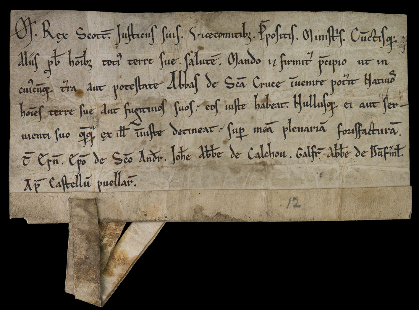 Charter by King Maclcolm IV, National Records of Scotland (GD45/13/224)