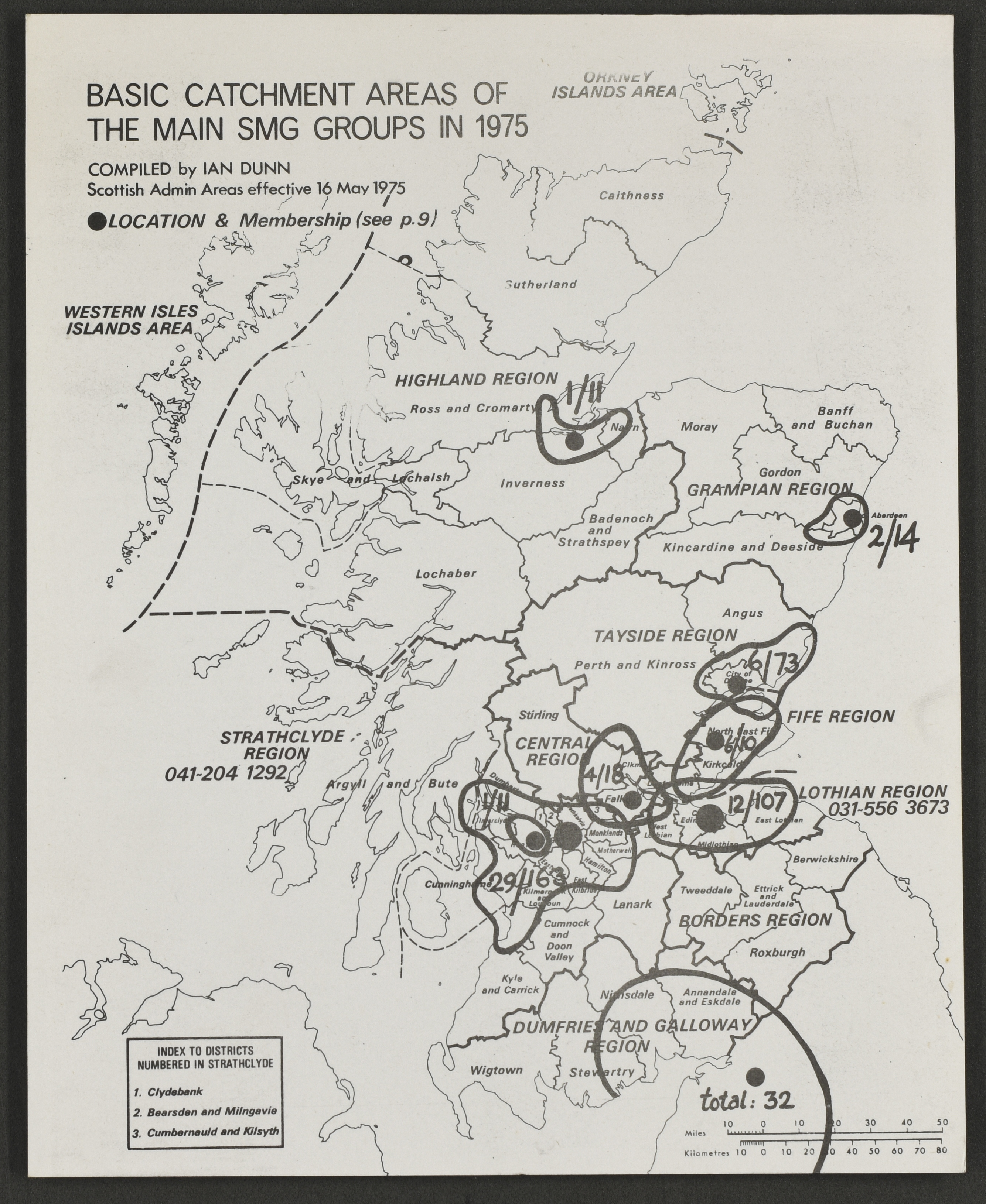 Catchment areas of the main SMG groups in 1975